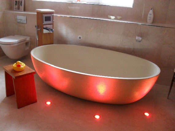 Bathrooms creative living interior design bathroom with free standing bath and multi coloured floor level lighting mozeypictures Choice Image