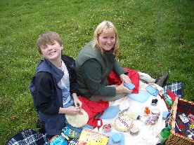 Mother and son enjoying a picnic