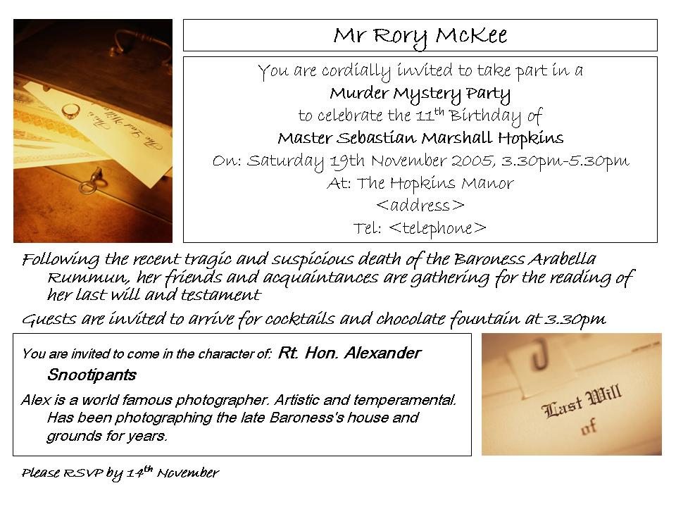 Murder mystery party sample murder mystery party invitation stopboris Images